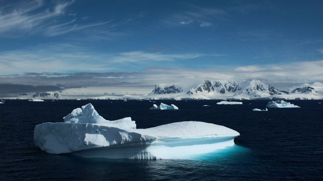 An ocean image with Icebergs in Antarctica.