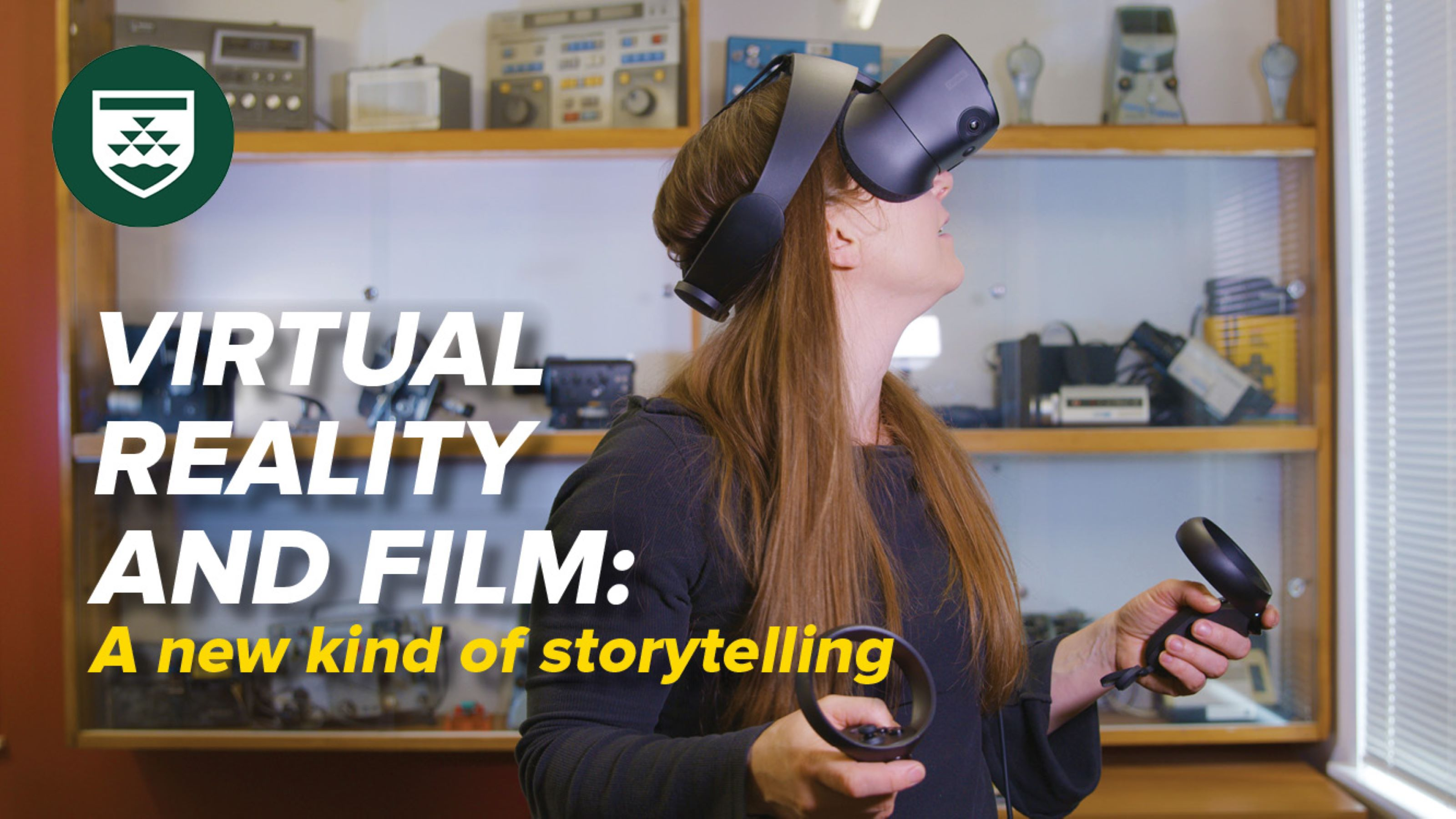 A woman uses an oculus rift in an office space, with white text that reads virtual reality and film, a new kind of storytelling.
