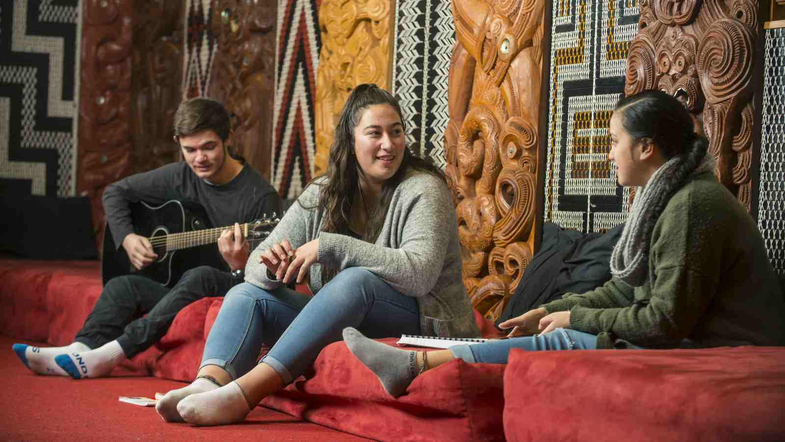 Pou Rere Spike sitting in the Marae.