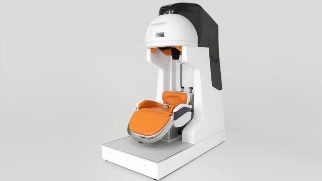 Graphic of prototype sitting down MRI machine. Image credit: Sam Bryan.