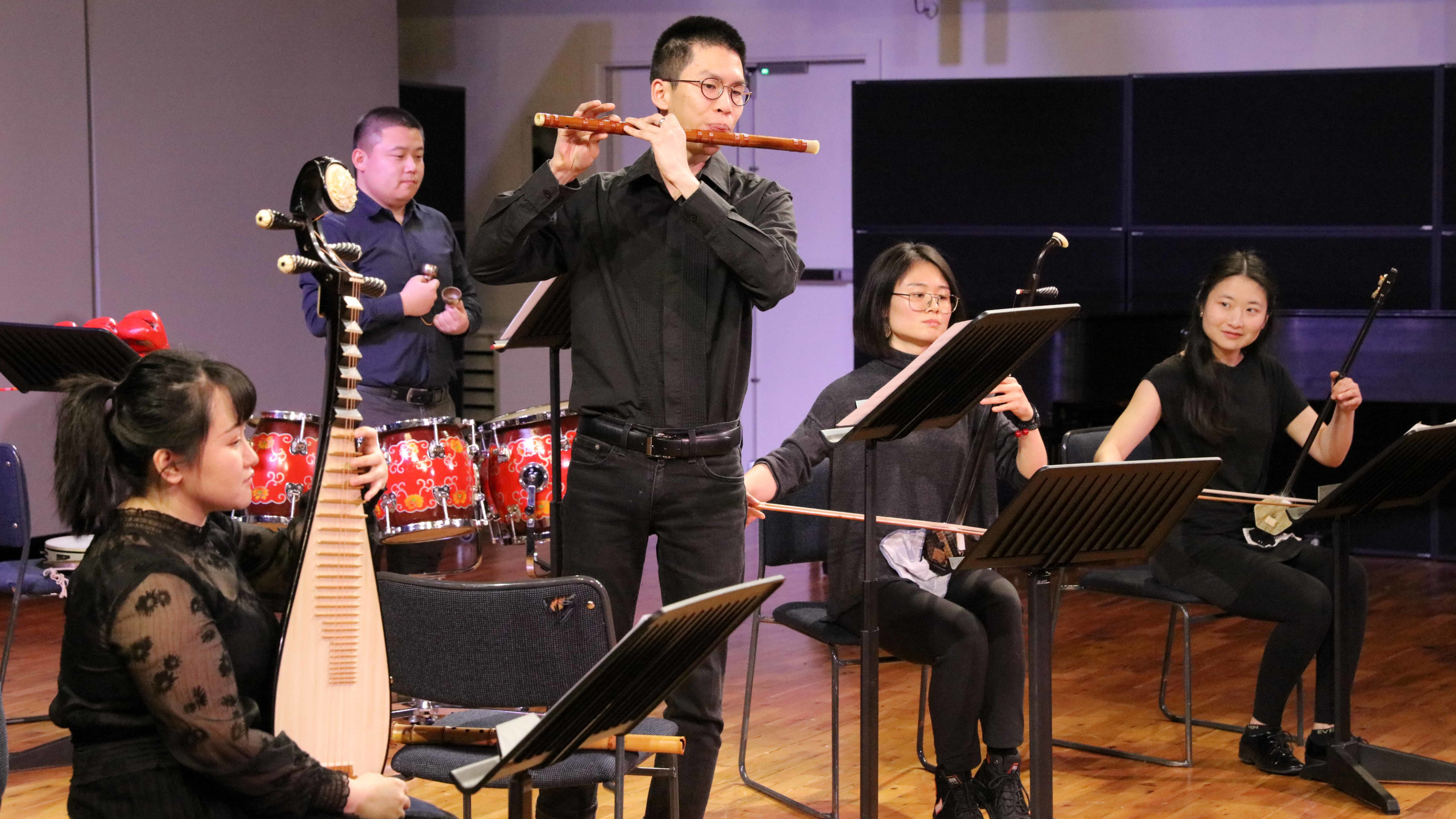 An ensemble of five NZ School of Music students play classical Chinese instruments