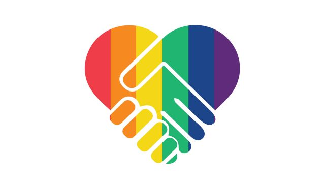 Digital icon of two hands shaking in the shape of a heart, painted with the rainbow flag.