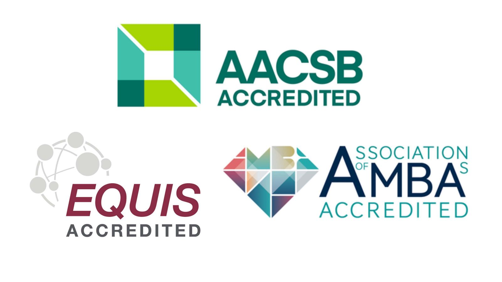 Triple crown logos – AACSB, EQUIS and AMBA.