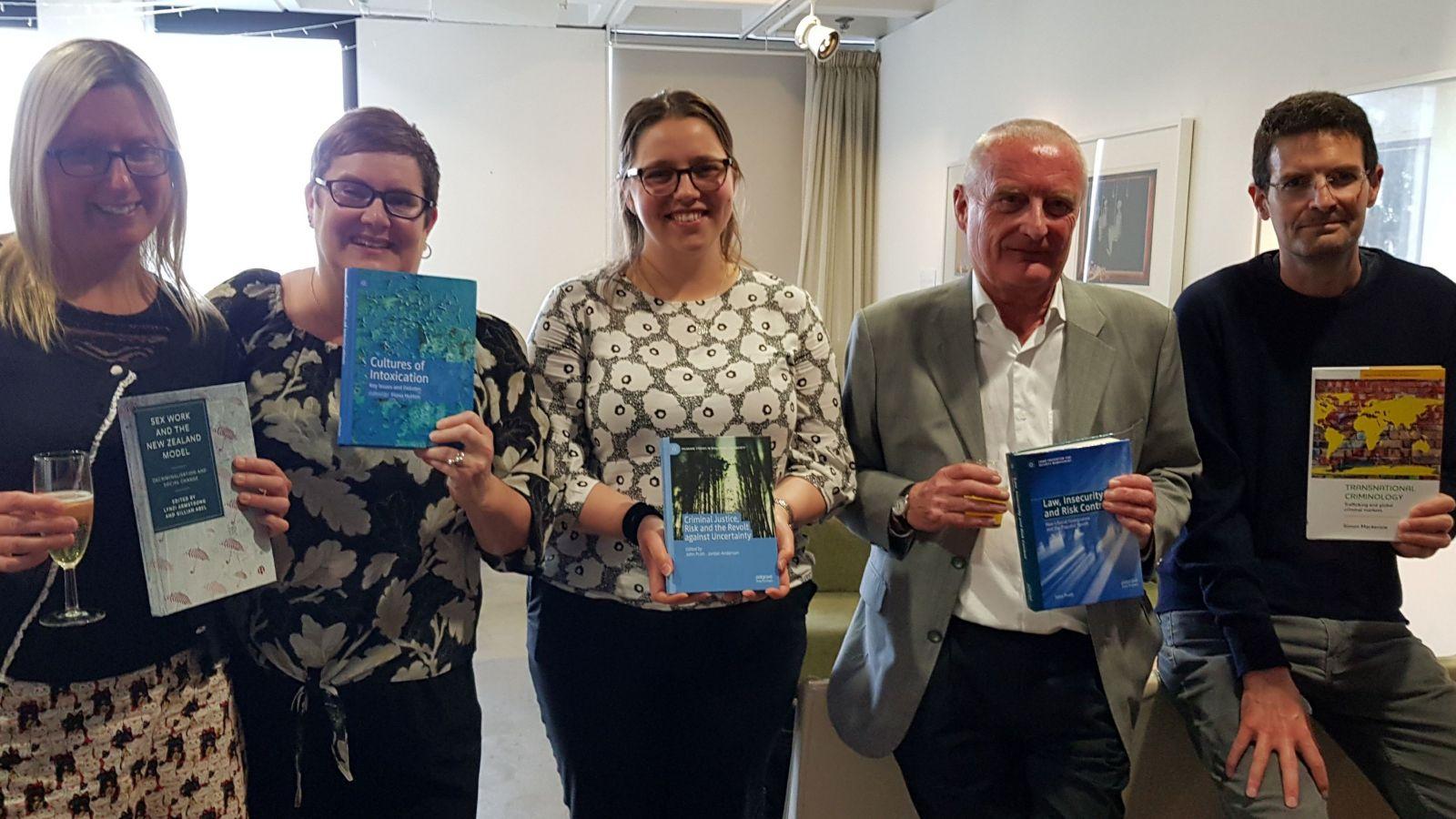 Left to right: Dr Lynzi Armstrong, Associate Professor Fiona Hutton, PhD candidate Jordan Anderson, Professor John Pratt, and Professor Simon Mackenzie.