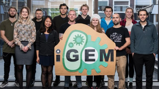 Team of young people stand behind iGEM logo.