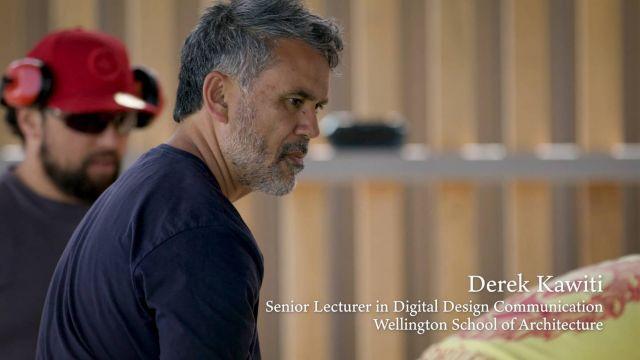 Still from film about Derek Kawiti 3D printing a waka
