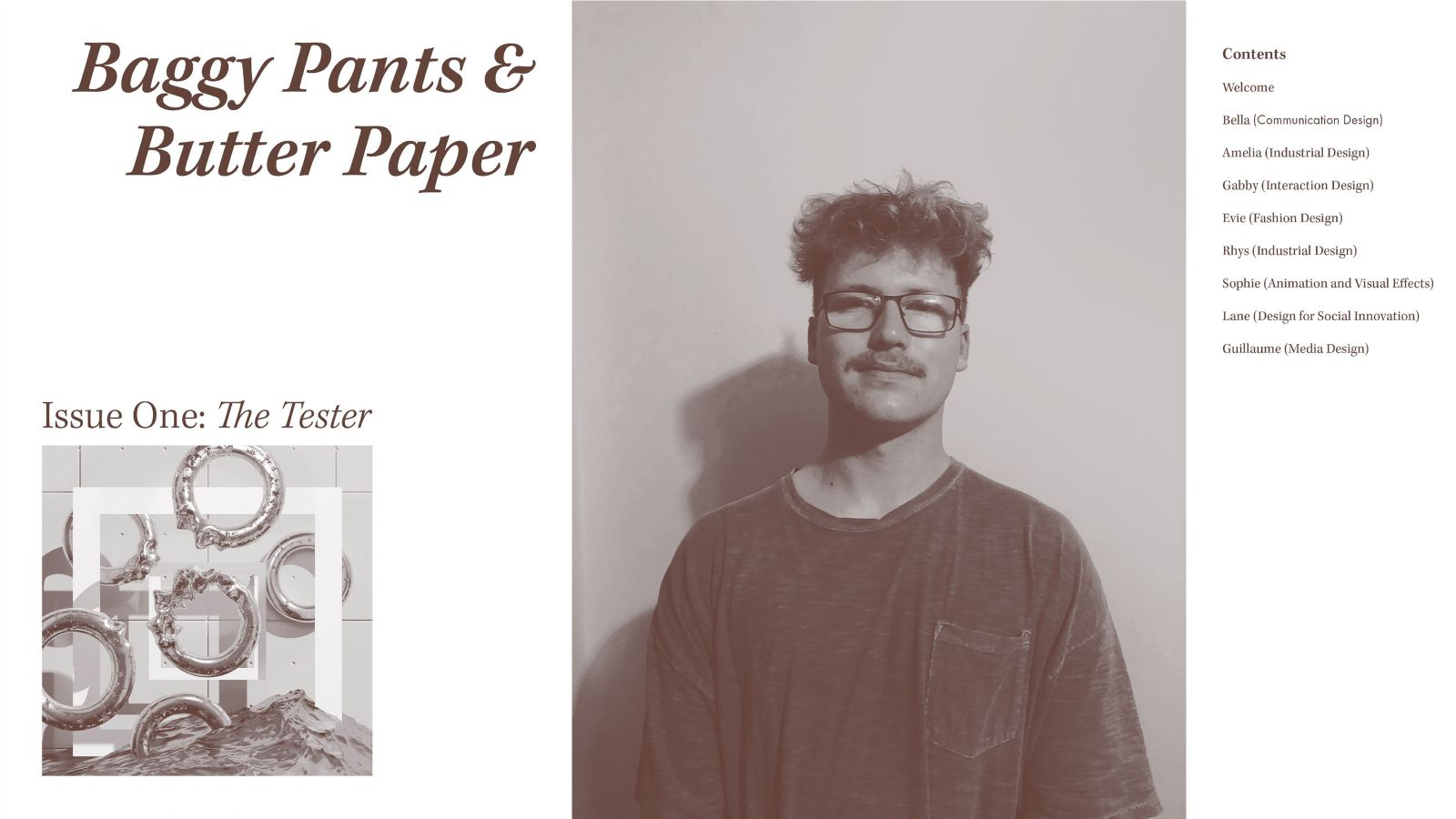 Cover of Baggy Pants and Butter Paper zine and portrait of Hamish Besley