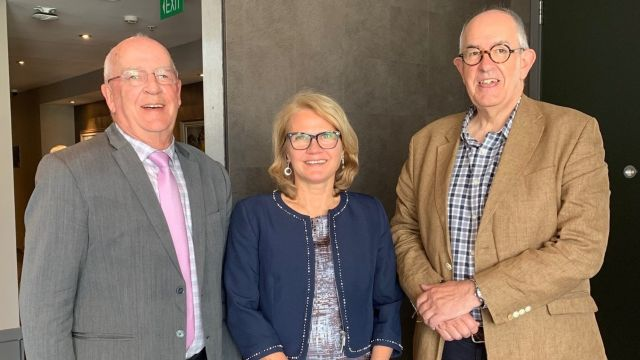 To celebrate the completion of his 50 years at the Law school, Professor McLauchlan was taken to lunch by the President of the Court of Appeal, Stephen Kós, and the Chief Justice, Dame Helen Winkelmann.