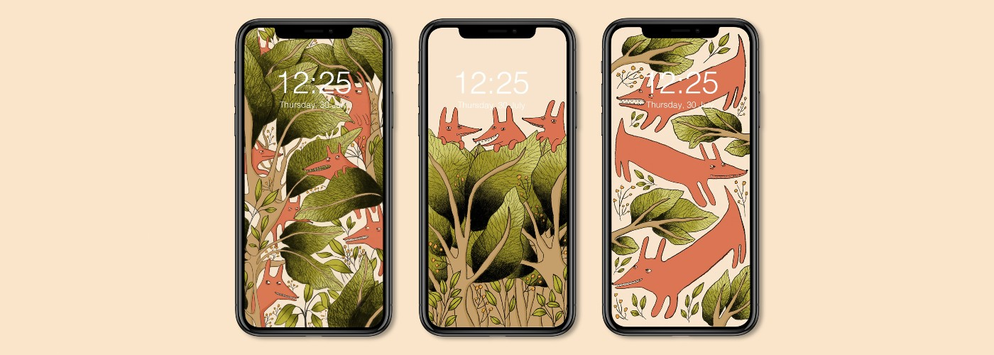 Three smartphones with wallpapers representing red dogs playing in foliage.