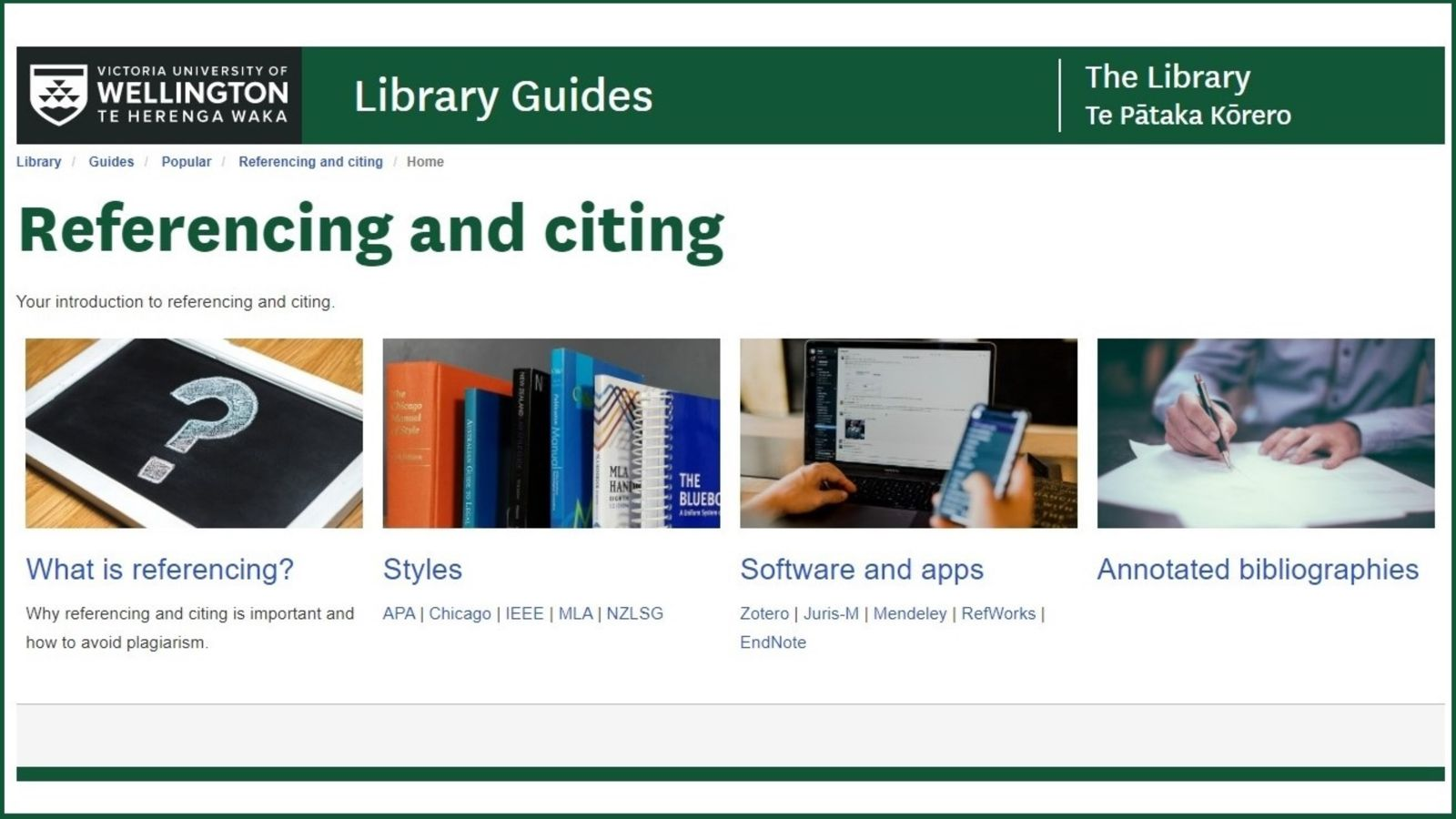 Screenshot of a page from the referencing and citing library guide.