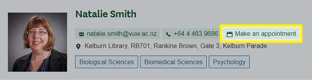 Button for accessing subject librarian calendar