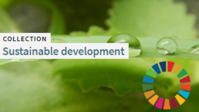 Left-aligned, black and green text on white banner stating 'Collection: Sustainable development', and at the bottom right, the United Nations Sustainable Development Goals logo circle of 17 multi-coloured segments, both superimposed on background of water droplets on a horizontal green leaf and other soft focus green vegetation.