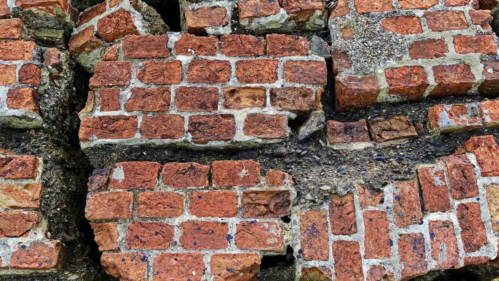 Brick wall with fractures from earthquake