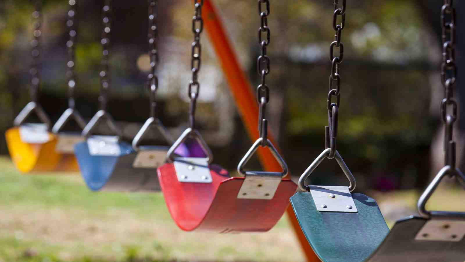 set of empty children's swings