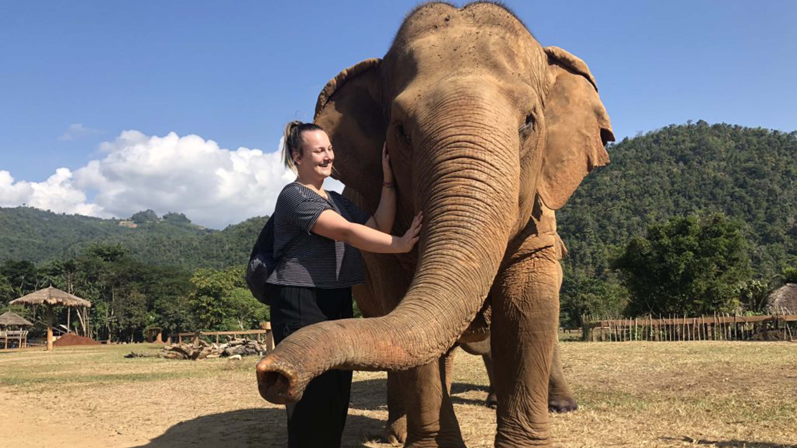 Alli O'Donnell with an elephant at a sanctuary in Thailand