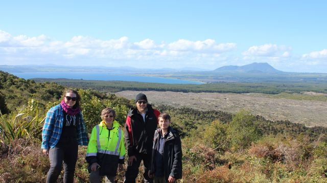 Ellie Mestel, Professor Martha Savage, Dr Simon Barker, and Dr Finn Illsley-Kemp with Tauhara volcano in the background.
