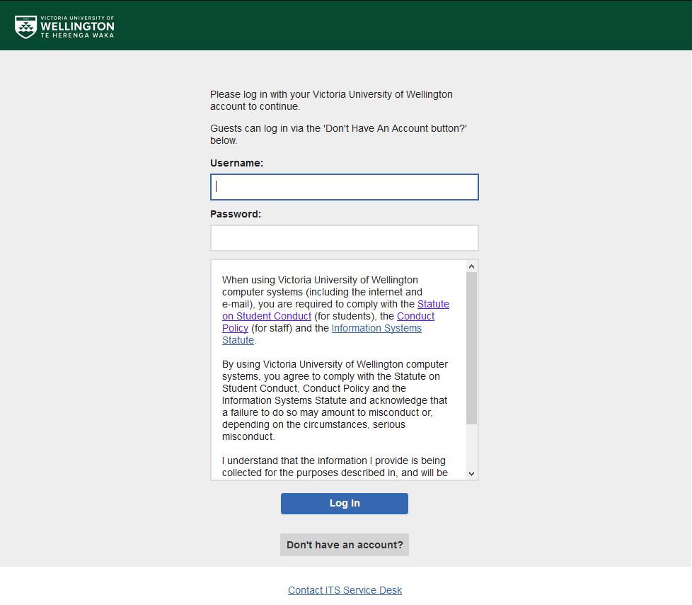 Web portal on Wellington UniversityGuest network