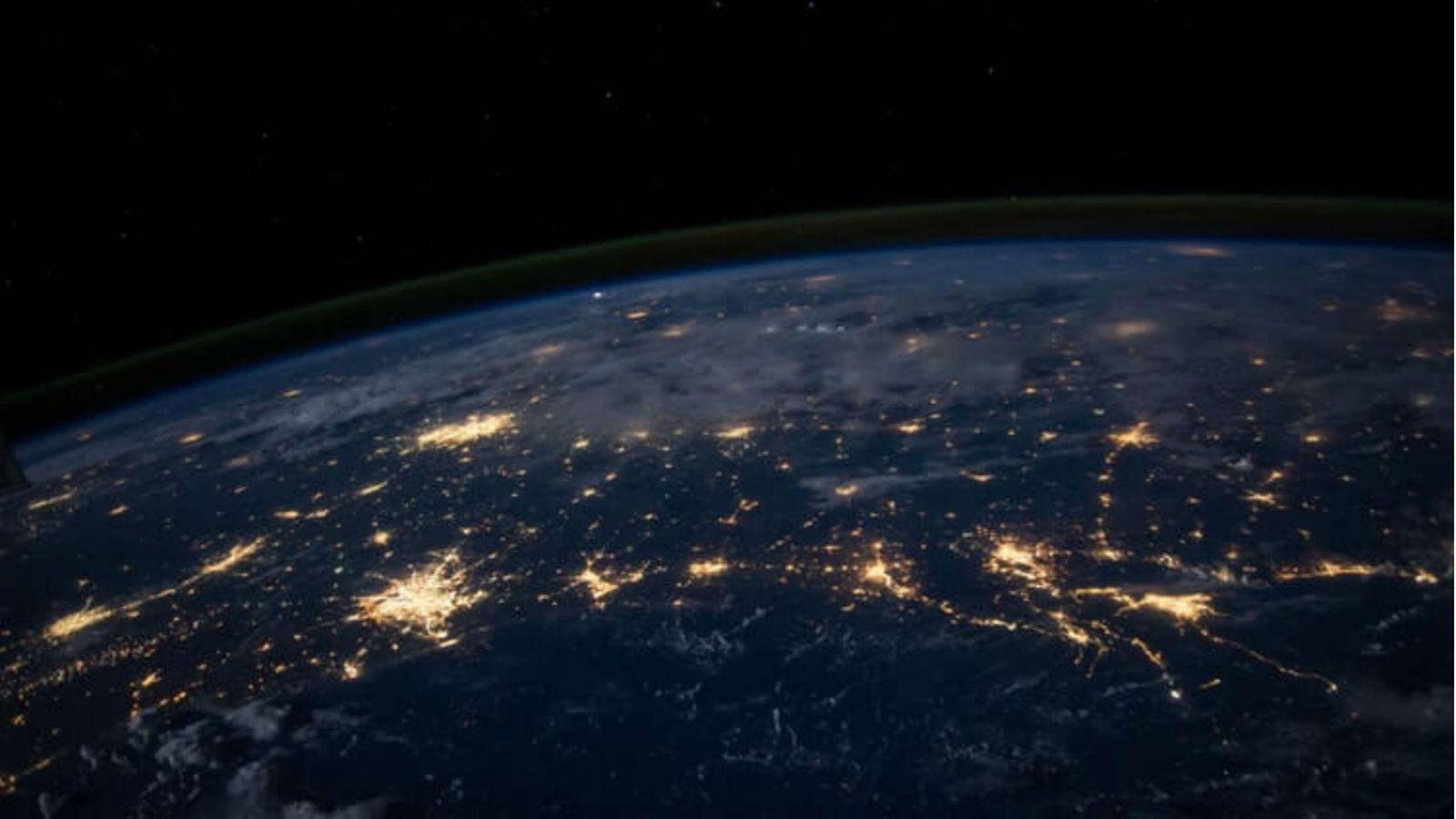 Earth from space at night.
