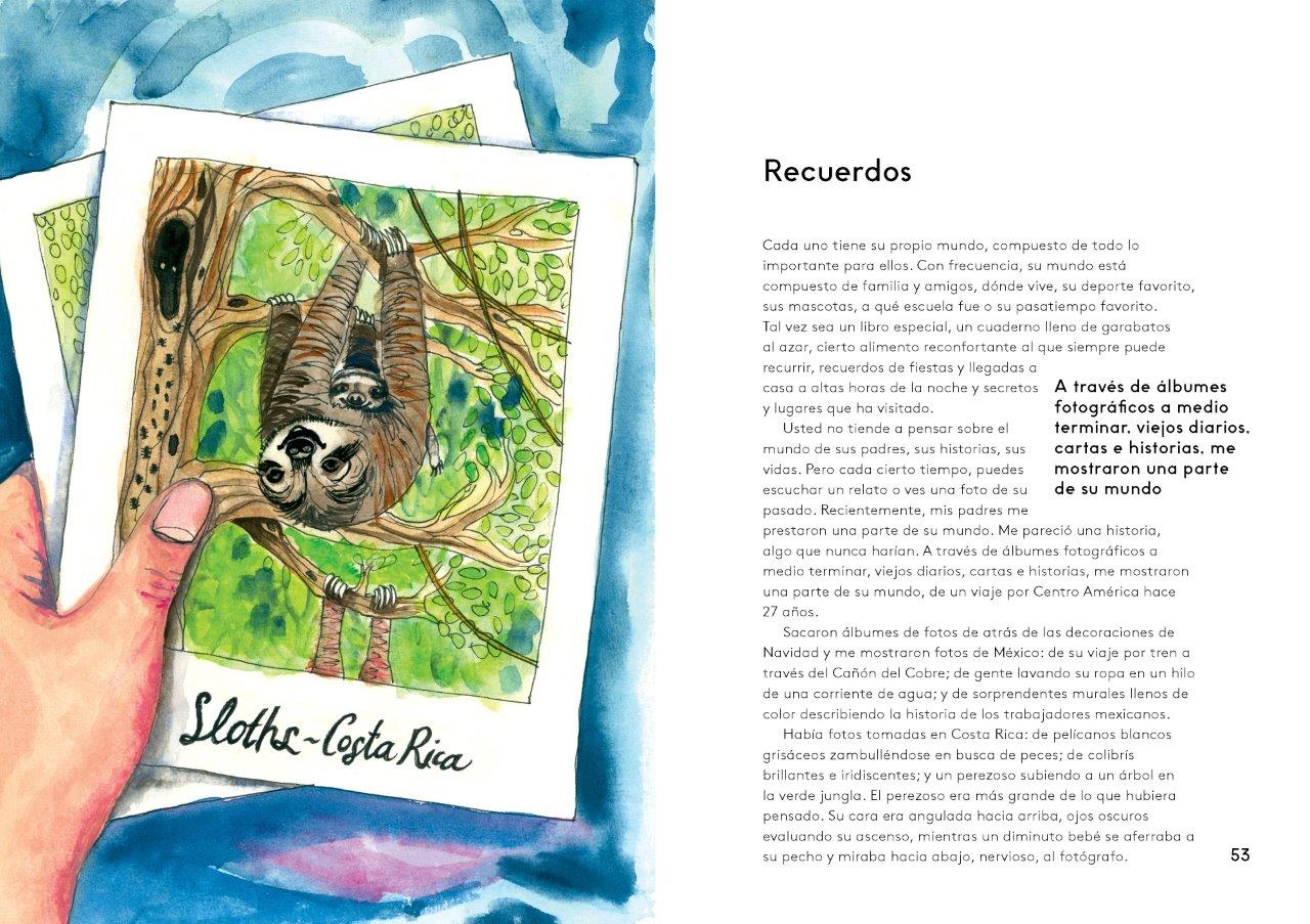 Page from Toitoi journal showing Spanish article titled 'Memories' with painting of sloth.