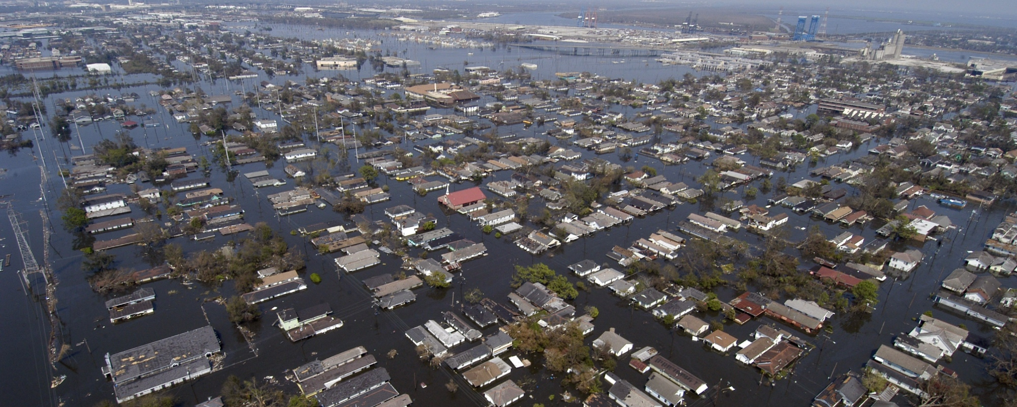 Aerial view of flooded city of New Orleans