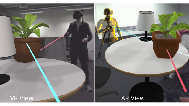 Augmented Virtual Teleportation - an asymmetric platform for remote collaboration. From the left: a remote traveler wearing a VR HMD, the Mixed Reality collaboration space seen in their display, the space shown on an AR display, and the local host.