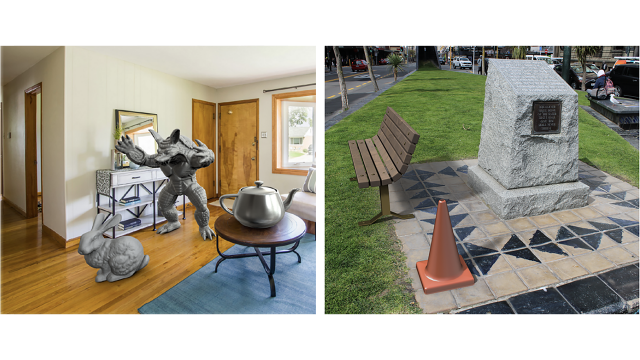 Two images of actual reality with virtual elements overlaid. One is an image of the interior of a room with a computer graphic of a fictional monster, a large teapot and a rabbit, the other image is outside, with a graphical image of a bench and a traffic cone.