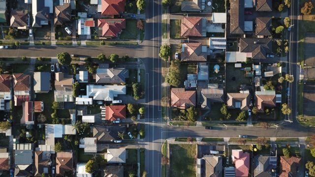 Birds eye view of housing estate