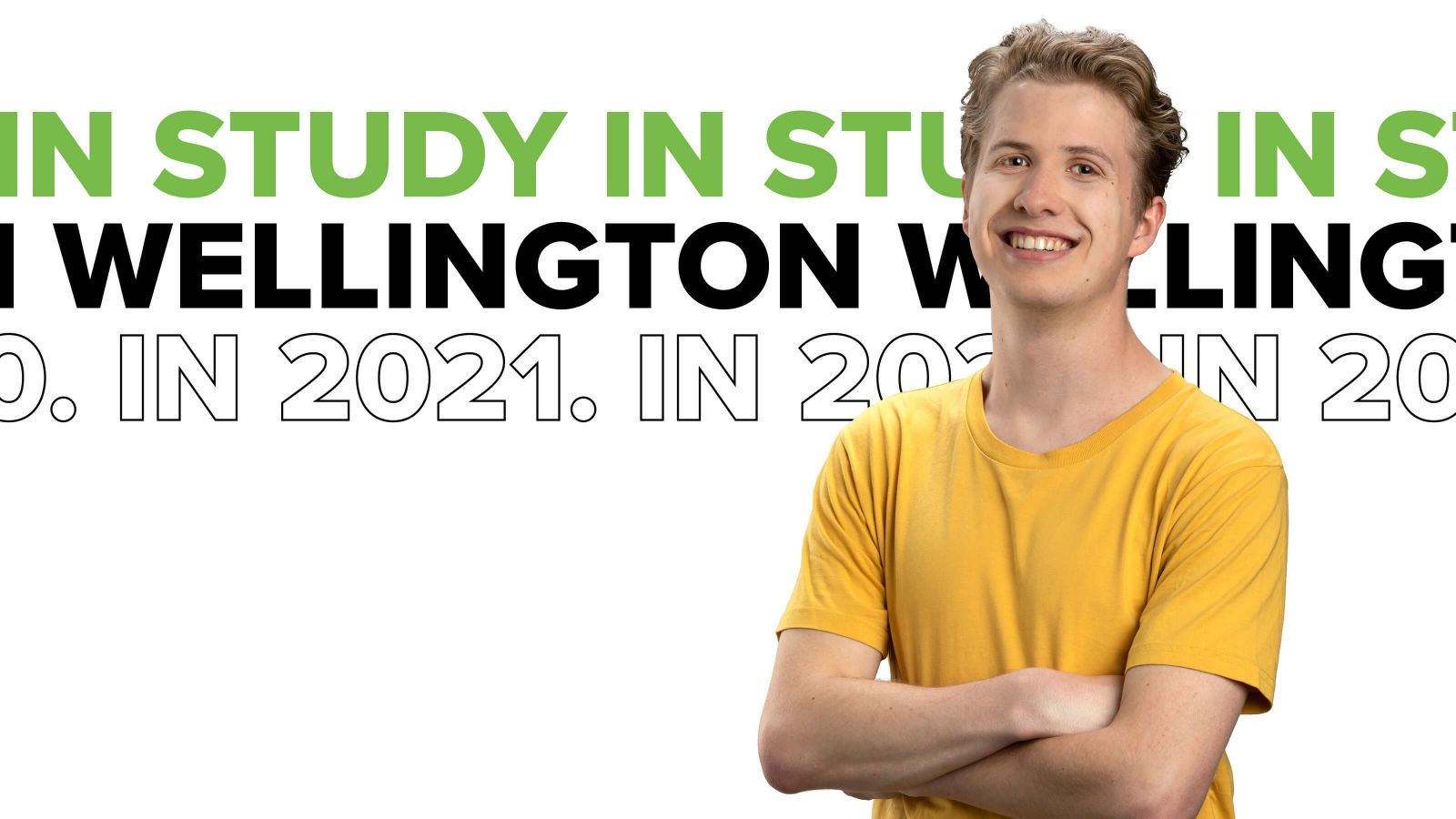 Smiling student, Zac, with white background and the text: Study in Wellington in 2021.