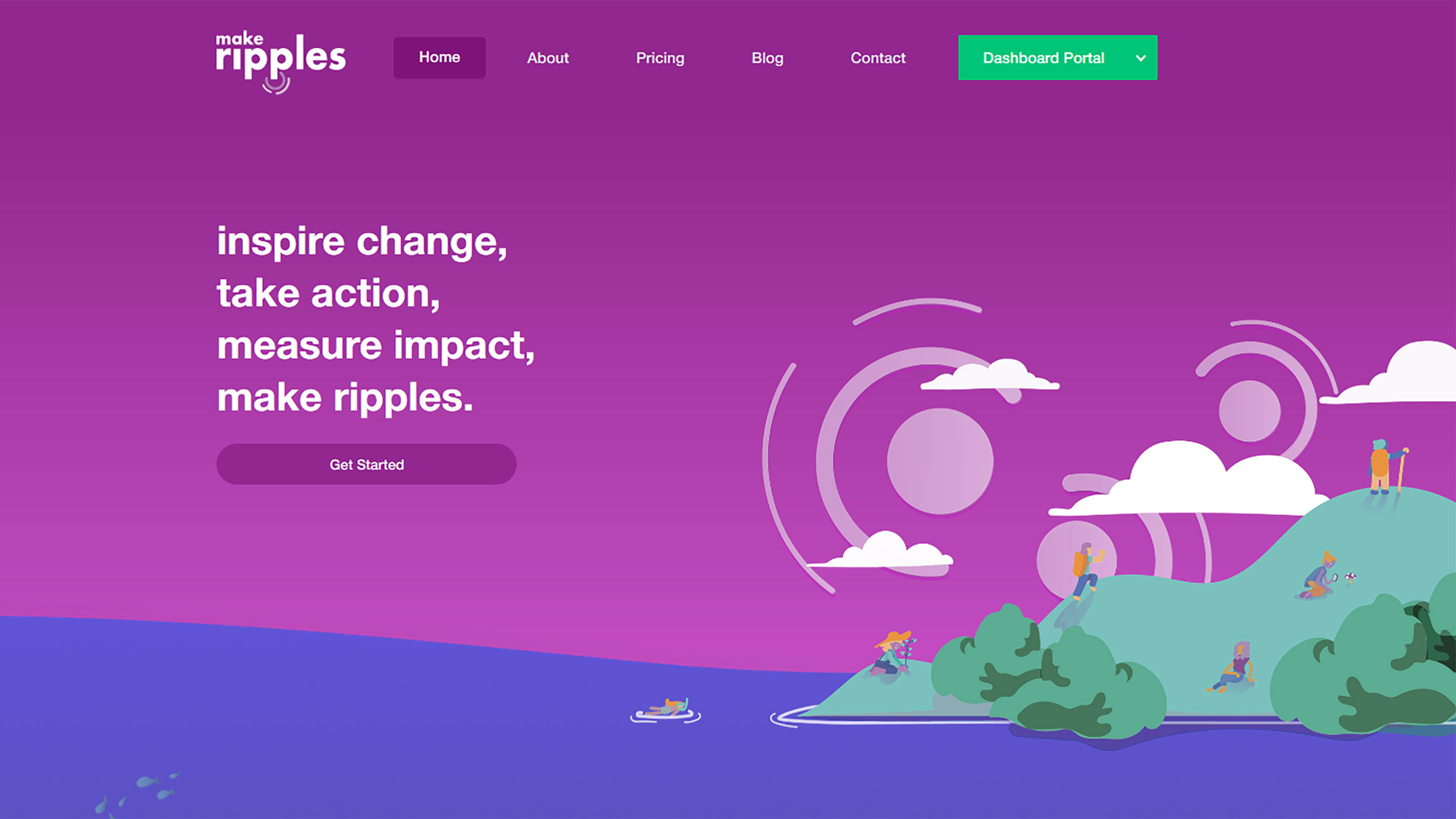 Screenshot of the makeripples website.