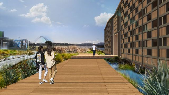 architectural render of people walking alond a boardwalk next to streams