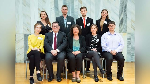 Photo of prizewinners with Hon Grant Robetson and Provost Wendy Larner