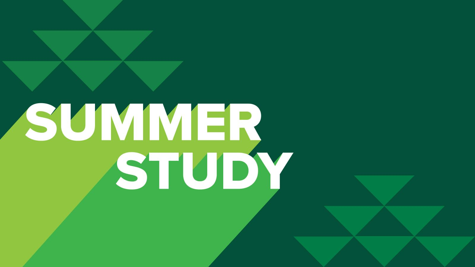 Abstract light and dark green triangle background with the words 'Summer study'.