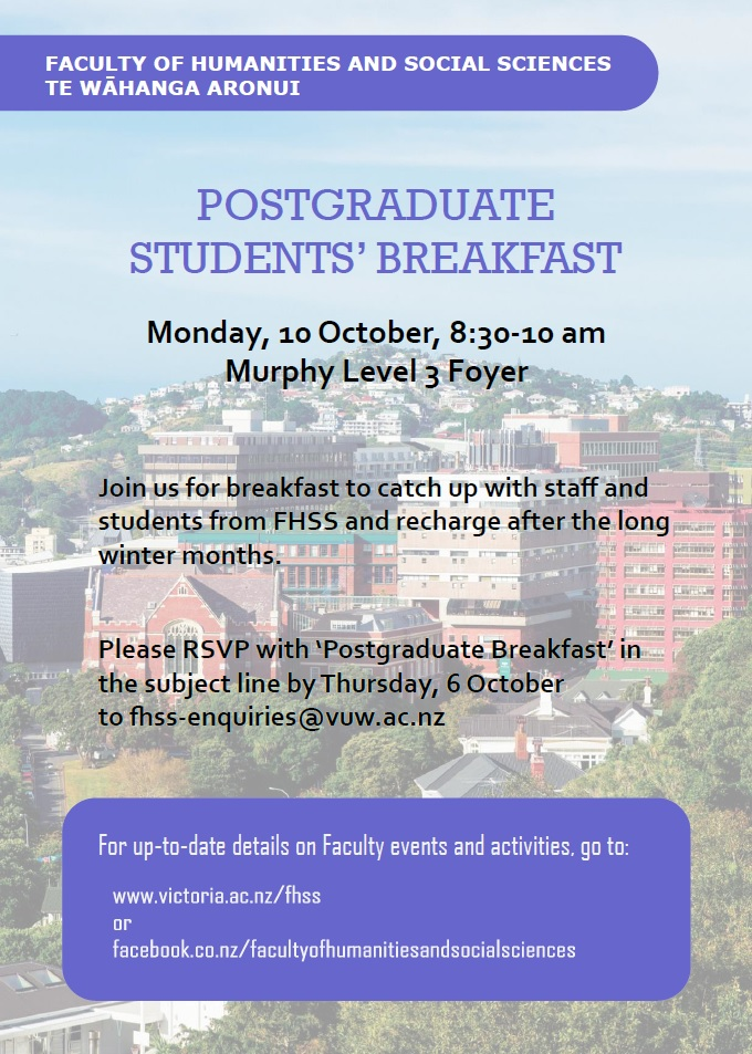 Poster for postgraduate breakfast event.