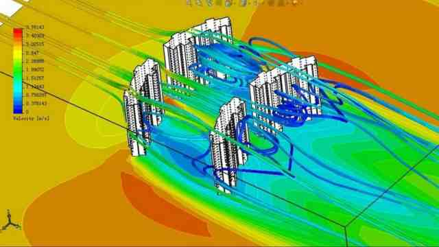 Harry's research, a computer generated image showing airflow and ventilation in buildings in a curved layout