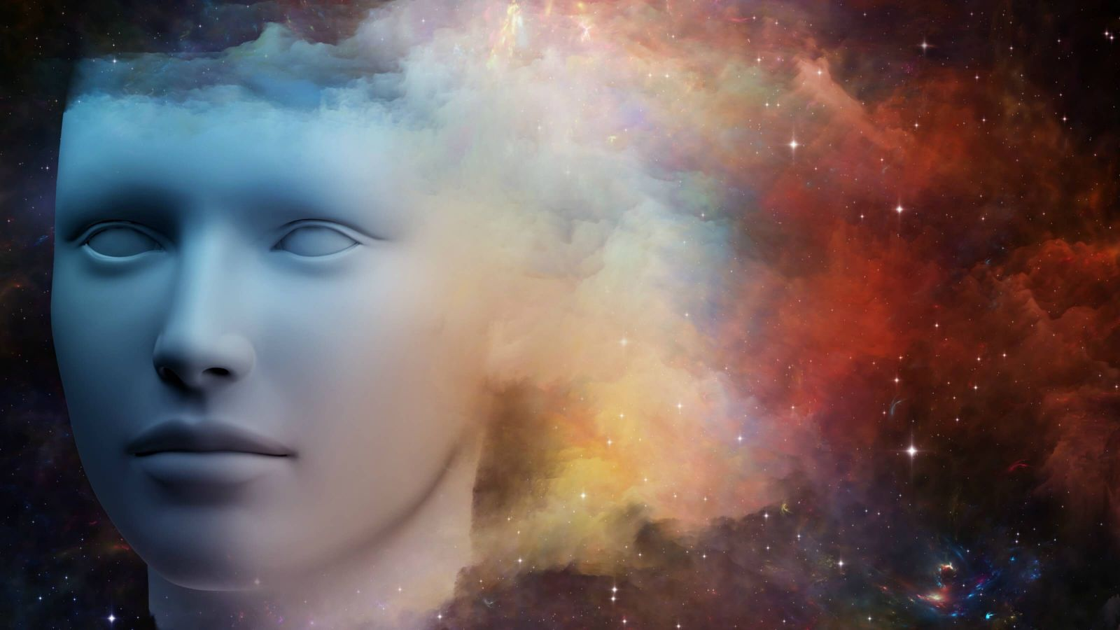 An abstract image of a human head in outer space that fades into a cloud.