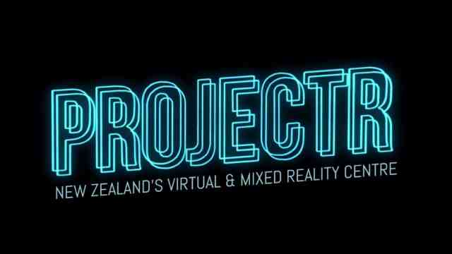 Projectr logo - neon blue lights saying projectr