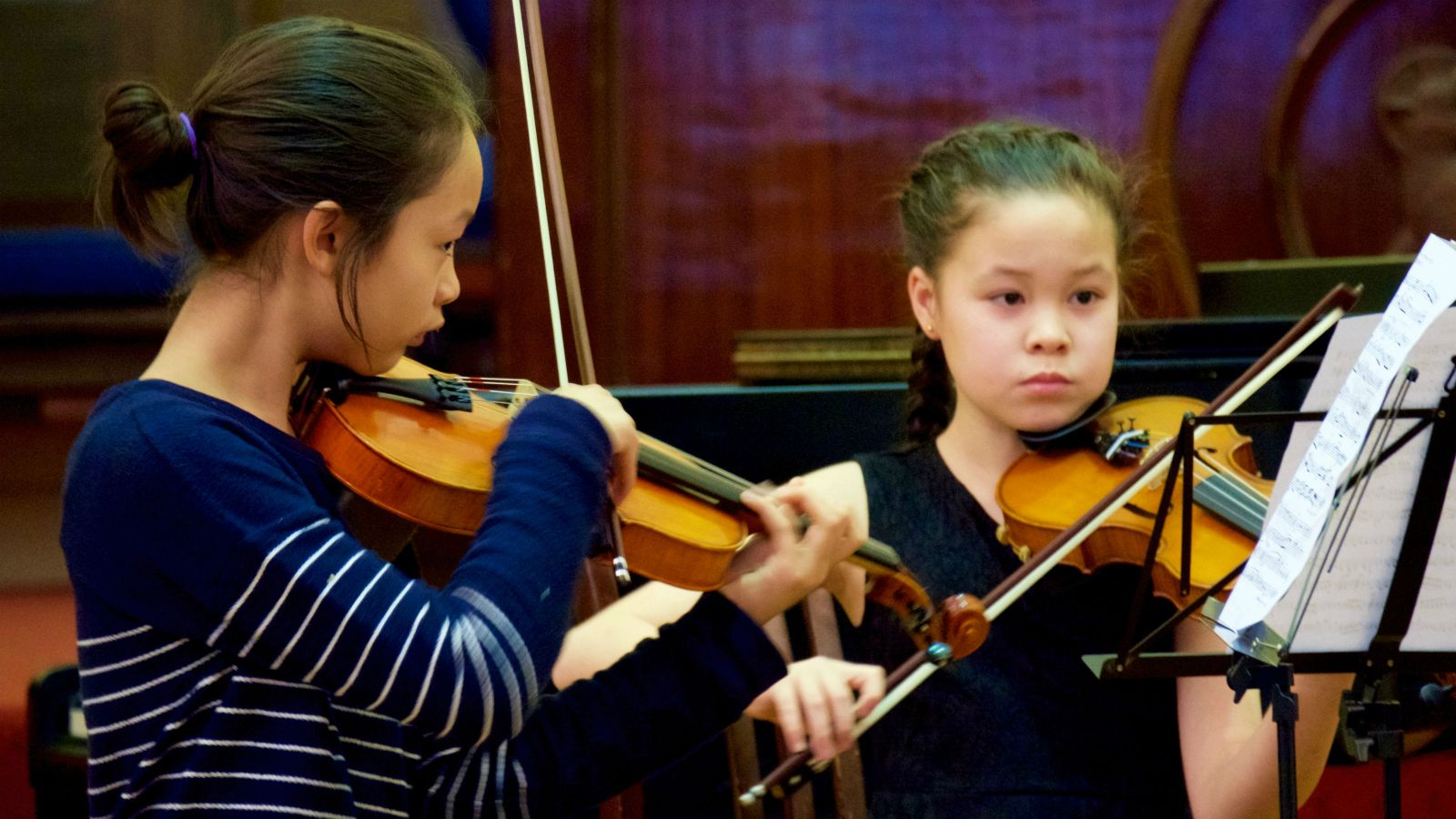 YMP violin students perform a chamber piece at St Andrews on The Terrace in 2016.