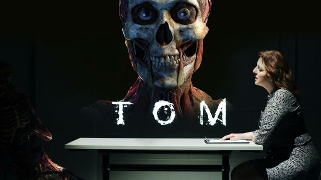 Poster of the film Tom, showing a skeleton and people at a desk