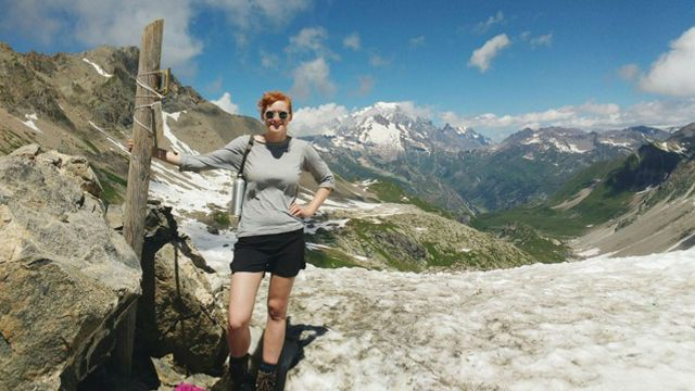 PhD student Florence Isaacs in the mountains.