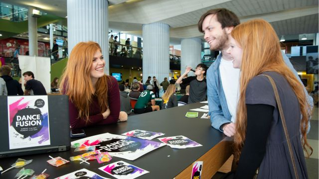 Photograph of the Dance Fusion club information table in the Kelburn campus Hub