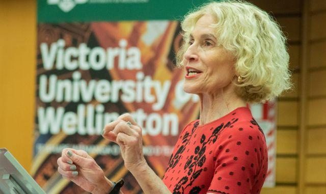 Professor Martha Nussbaum giving a lecture.