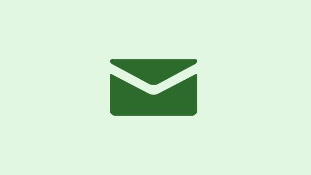 Email inbox - green envelope on light green background