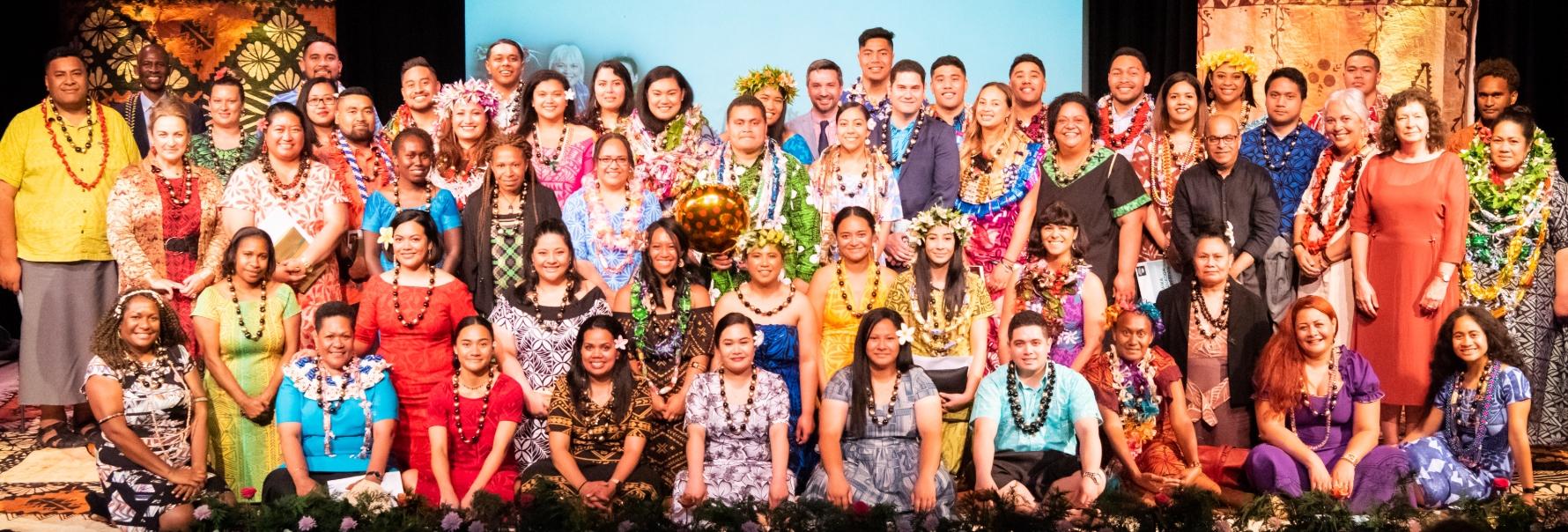 A group of Pasifika Graduates in colourful attire.