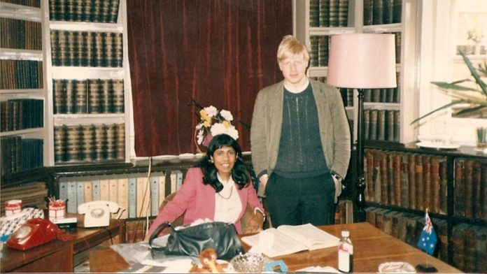 Jeya Wilson and Boris Johnson in the Oxford Union President's office - Jeya Wilson