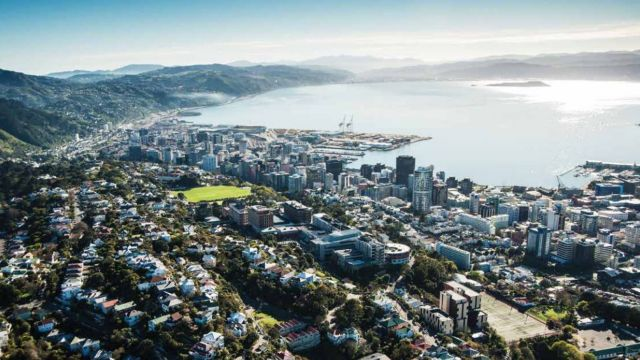 Aerial view of Wellington and harbour