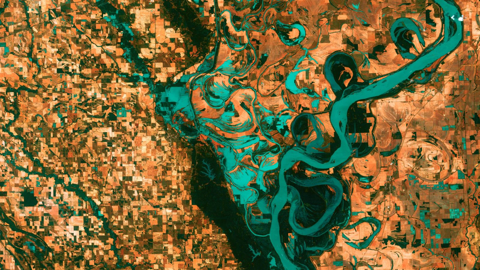 Satellite view of bright green Mississippi River and brown, blocky landscape, Photo: USGS, Unsplash.