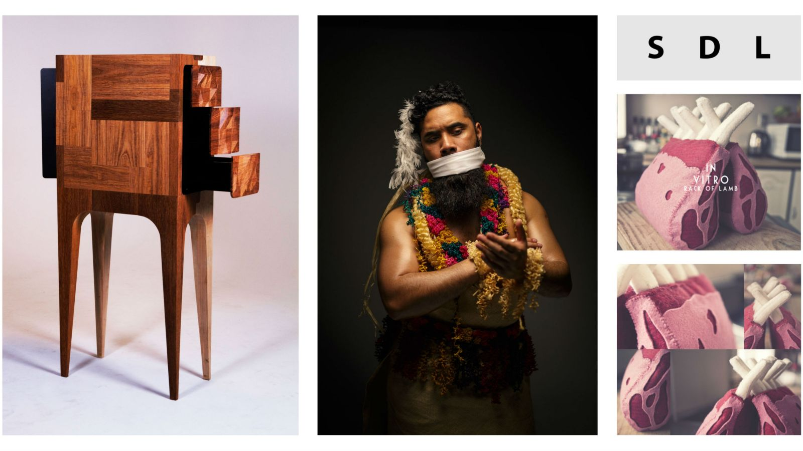 Montage of wooden furniture, man with material covering his mouth, and images of fake meat made from felt