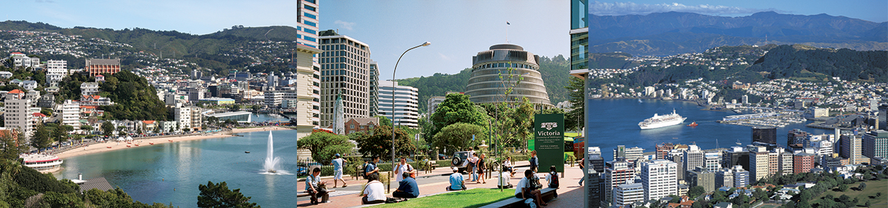 Three images together, one is a fountain in water, the other is the Beehive building and the last is a cruise ship in Wellington.