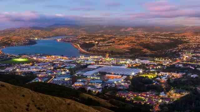 Aerial view of Porirua city at dusk.
