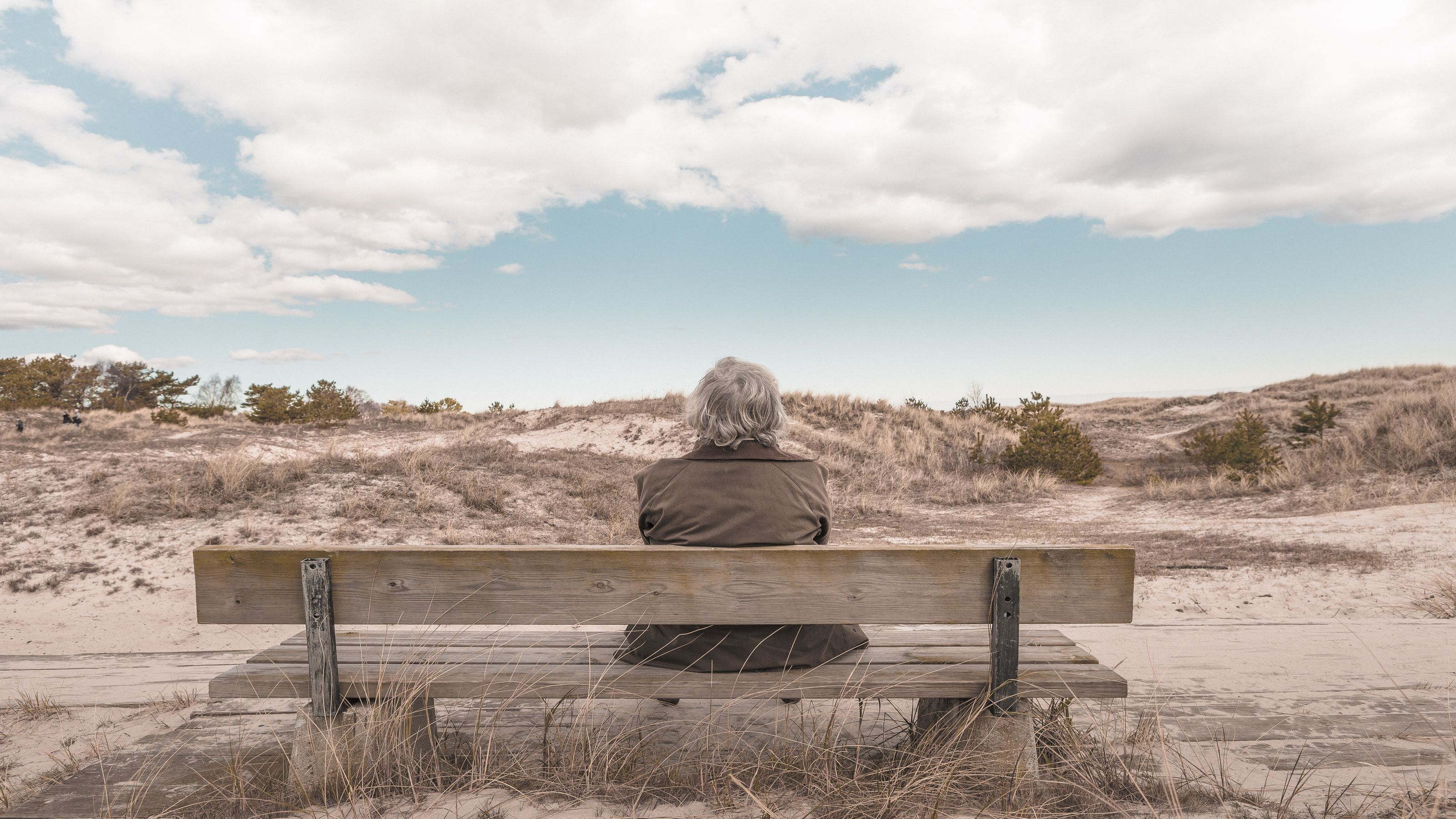 A man sits on a bench looking out over gently rolling hills.